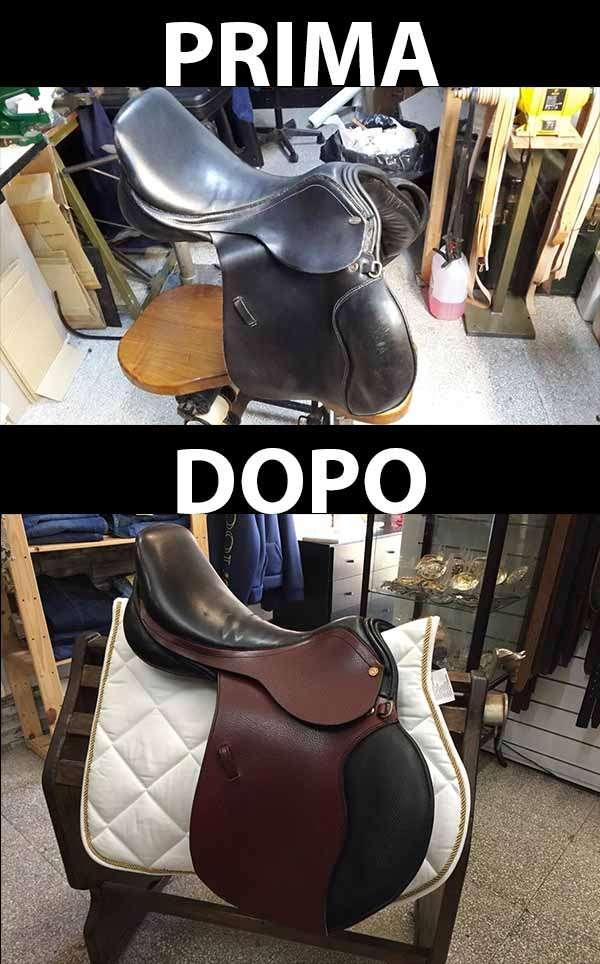 Riparazione sella per cavallo prima e dopo